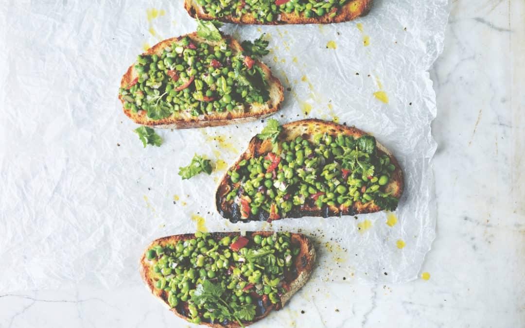 pea guacamole toasts