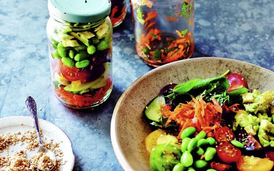 edamame, lime, and sesame jar salad