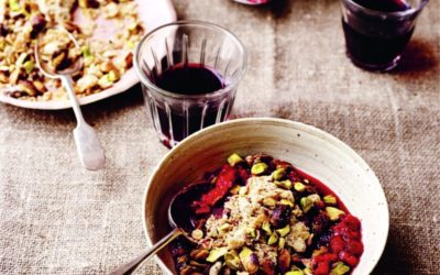 raspberry, rose, and pistachio crumble