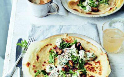 savoury pancakes with garlicky mushrooms