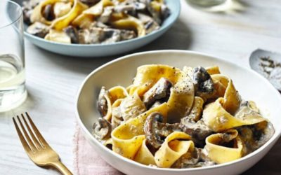 pappardelle with creamy white wine mushrooms