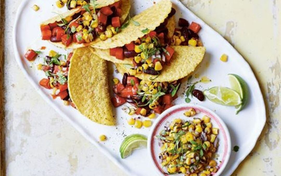 cola sweet potato tacos with sweetcorn salsa