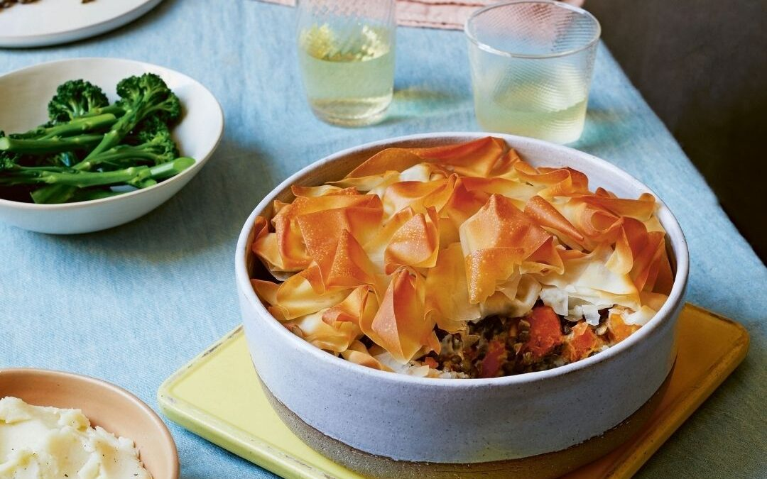 creamy squash and Puy lentil pie