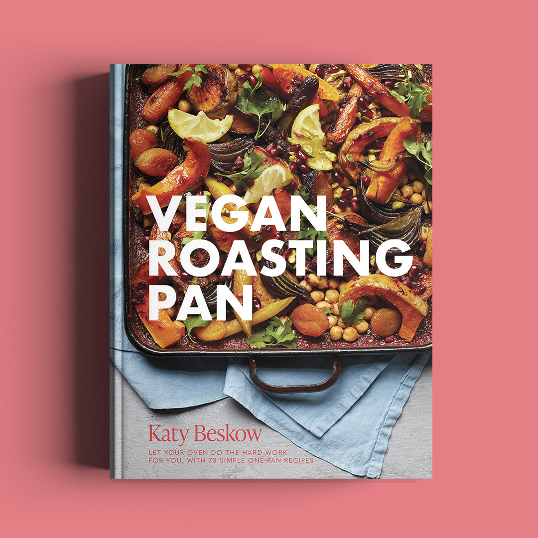 Image shows book cover of Vegan Roasting Pan book by Katy Beskow